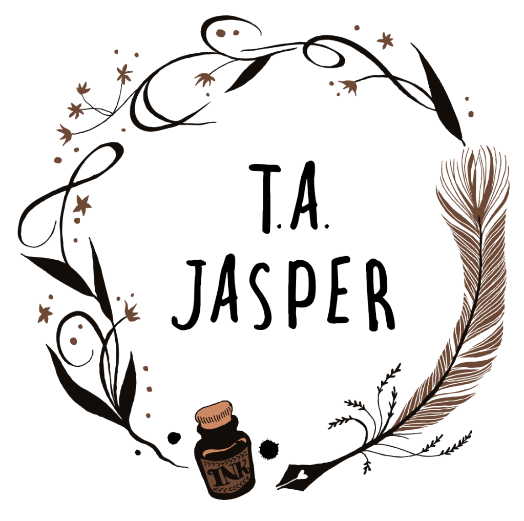 Logo: T.A. Jasper in the middle of a wreath consisting of flowers, a feather pen, and ink bottle.