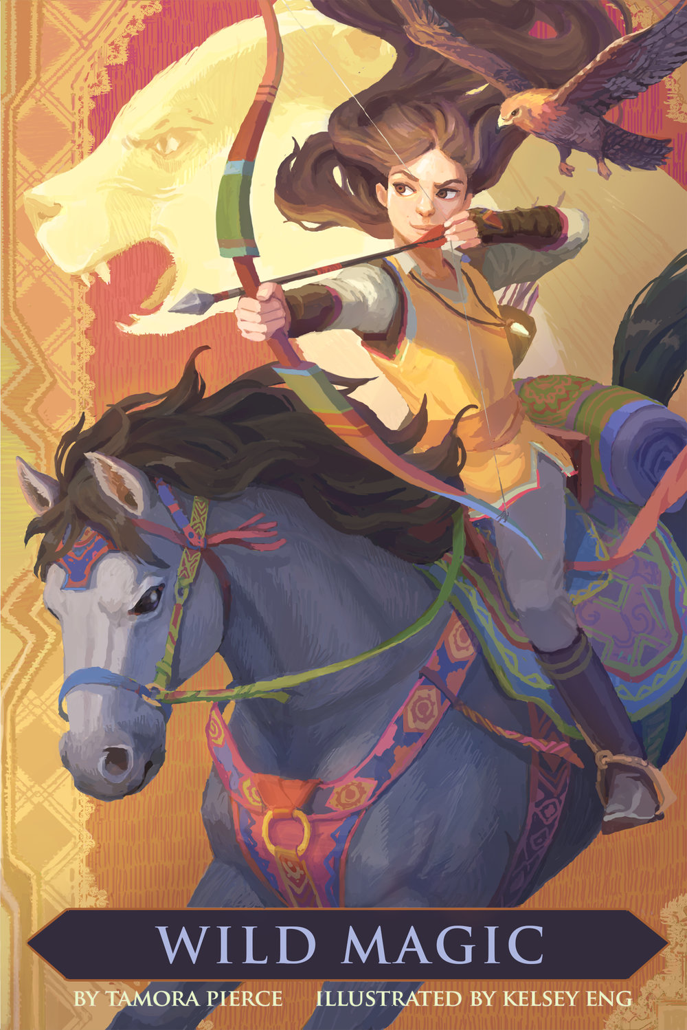 Girl with brown hair holding a bow and arrow while riding a horse. A hawk flies in the upper right corner. Faint image of a badger in the background.